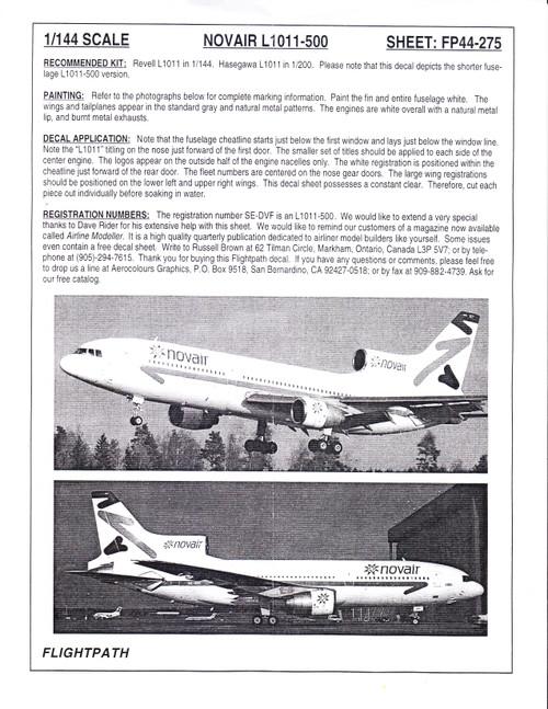 1/144 Scale Decal Nova Air L1011-500