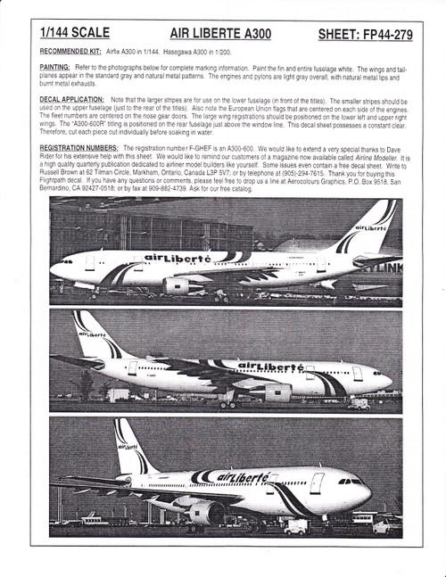1/144 Scale Decal Air Liberte A-300