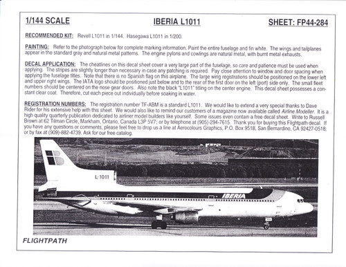 1/144 Scale Decal Iberia Airlines L-1011