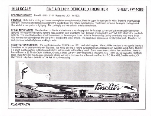 1/144 Scale Decal Fine Air L-1011 Freighter