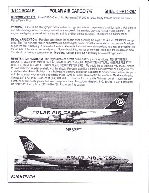 1/144 Scale Decal Polar Air Cargo 747