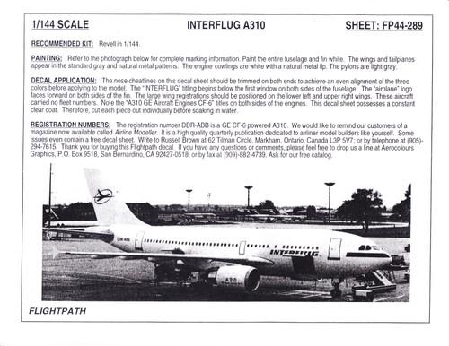 1/144 Scale Decal Interflug A-310