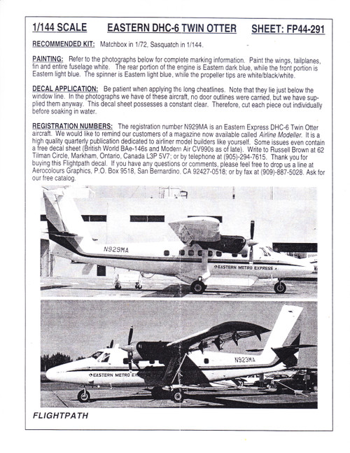 1/144 Scale Decal Eastern Metro Express Twin Otter