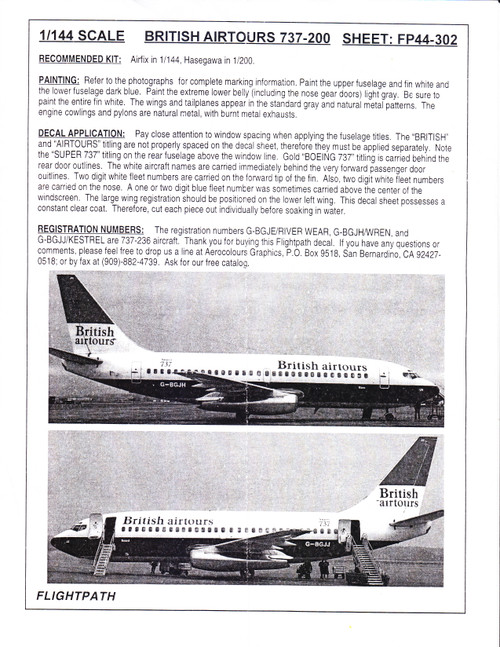 1/144 Scale Decal British Airtours 737-200