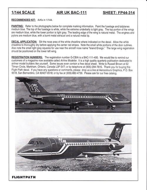 1/144 Scale Decal Air UK Bac-111