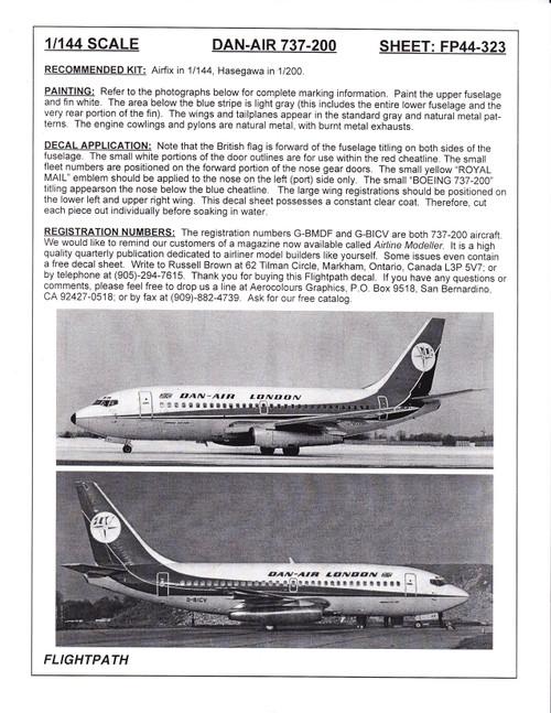1/144 Scale Decal Dan-Air London 737-200