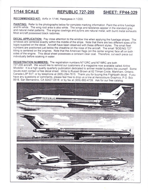 1/144 Scale Decal Republic Airlines 727-200
