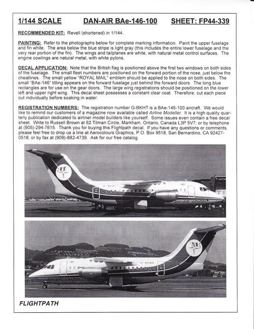 1/144 Scale Decal Dan-Air London BAe-146-100