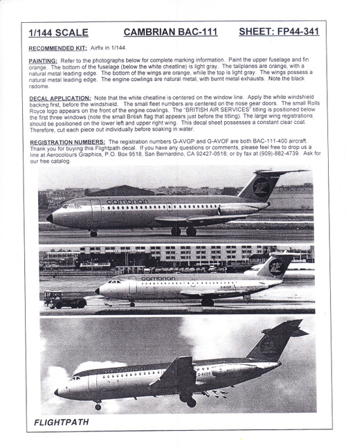 1/144 Scale Decal Cambrian Airways BAC-111