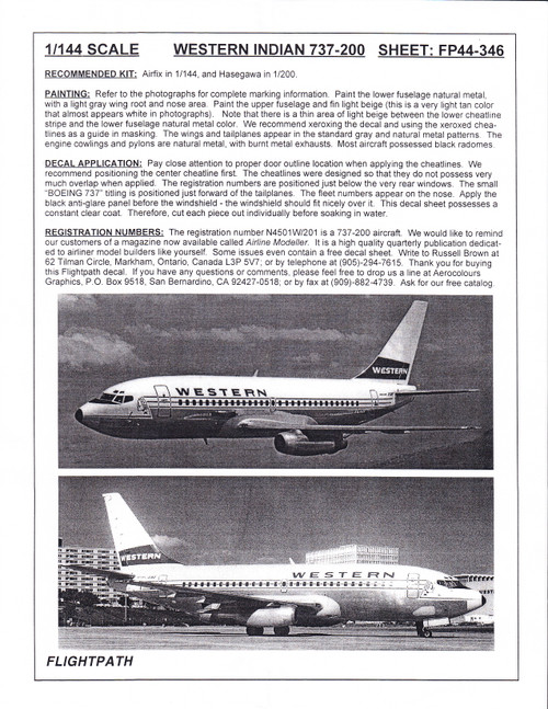 1/144 Scale Decal Western Airlines 737-200 INDIANHEAD