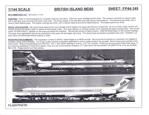 1/144 Scale Decal British Island Airways MD-80