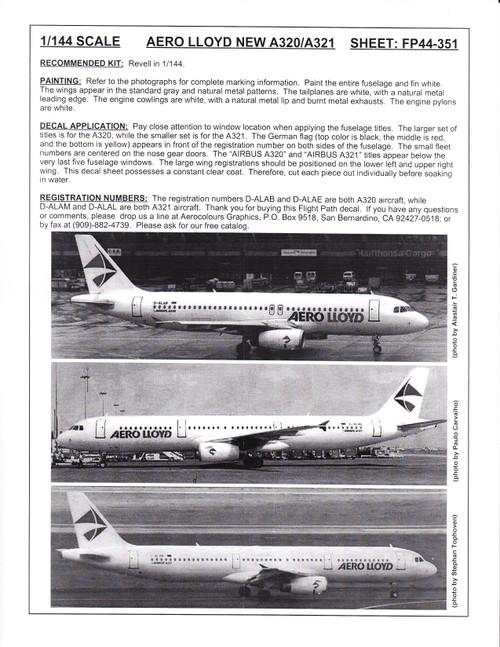 1/144 Scale Decal Aero Lloyd A-320 / A-321