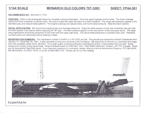 1/144 Scale Decal Monarch 707-320C