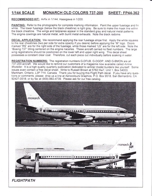 1/144 Scale Decal Monarch 737-200