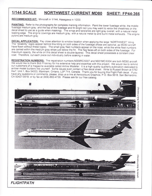1/144 Scale Decal Northwest MD-80