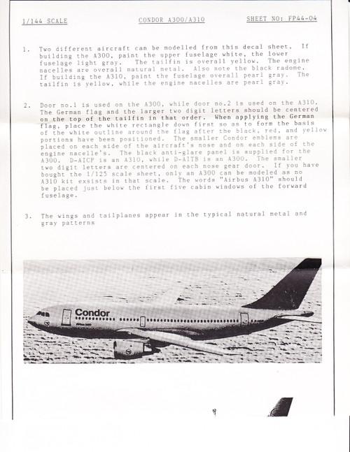 1/144 Scale Decal Condor A-300 / A-310