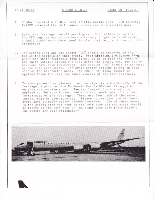 1/144 Scale Decal Condor DC8-73