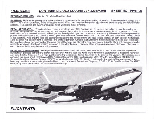 1/144 Scale Decal Continental 707-20B / B720