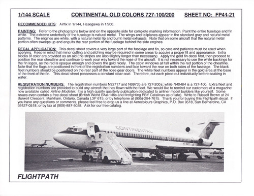 1/144 Scale Decal Continental 727-100 / 200