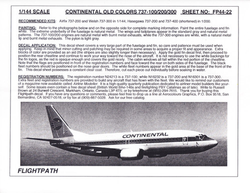 1/144 Scale Decal Continental 737-100 / 200 / 300
