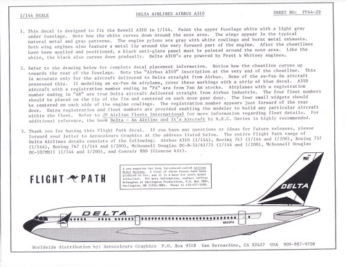 1/144 Scale Decal Delta Airlines A-310