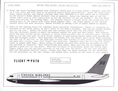 1/144 Scale Decal United Airlines 767-200 / 300