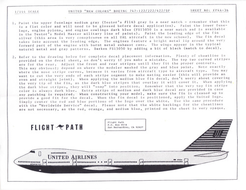 1/144 Scale Decal United Airlines 747-100 / 200 / 400 / SP