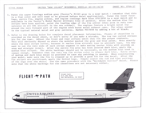 1/144 Scale Decal United Airlines DC-10