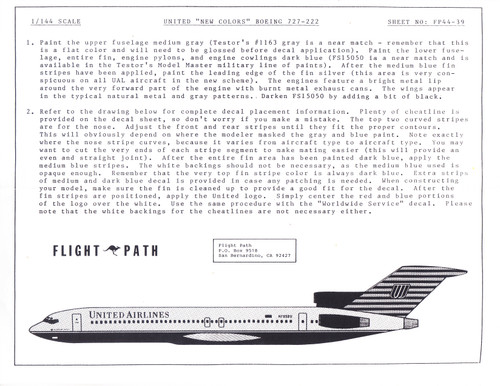 1/144 Scale Decal United Airlines 727-200