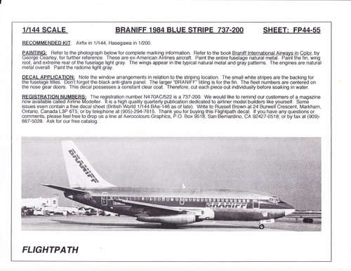 1/144 Scale Decal Braniff 737-200 BLUE STRIPE