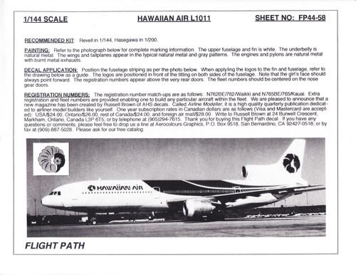 1/144 Scale Decal Hawaiian Air L-1011
