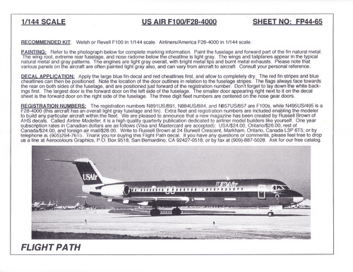 1/144 Scale Decal USAir F-100 / F28-4000
