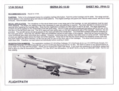 1/144 Scale Decal Iberia DC10-30