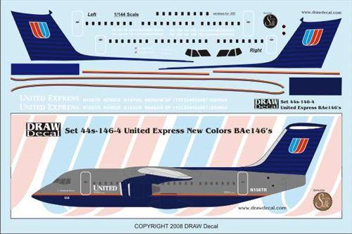 1/144 Scale Decal United Express BAe-146