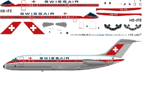 1/144 Scale Decal Swissair DC9-10