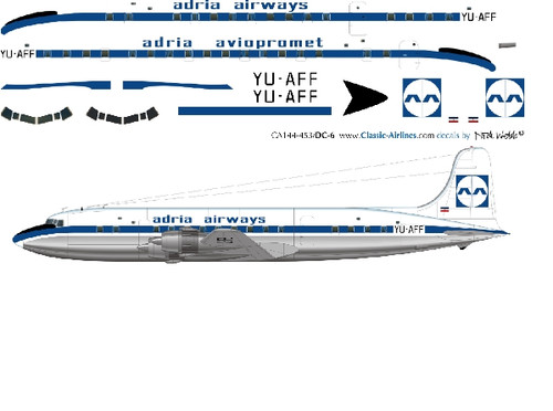 1/144 Scale Decal Adria Airways DC-6