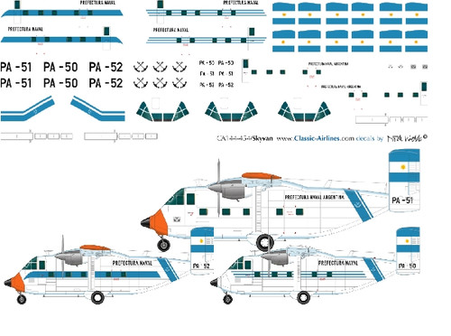1/144 Scale Decal Prefectura Argentina Skyvans