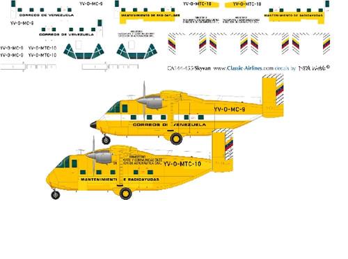 1/144 Scale Decal Correos  de Venezuela Skyvans