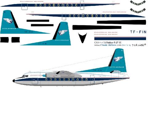 1/144 Scale Decal Islandair F-27 TORQUIOSE