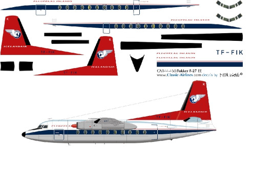1/144 Scale Decal Islandair F-27 RED