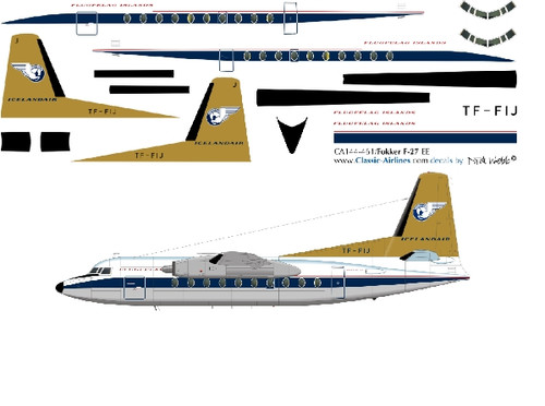 1/144 Scale Decal Islandair F-27 SAND