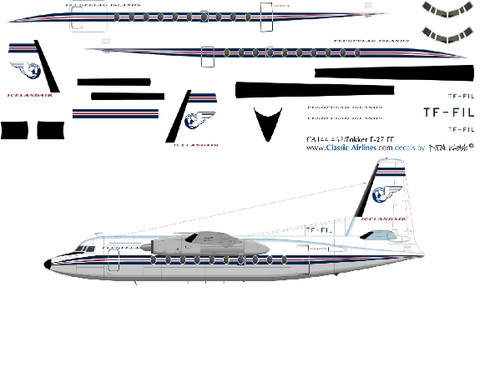 1/144 Scale Decal Islandair F-27 DELIVERY
