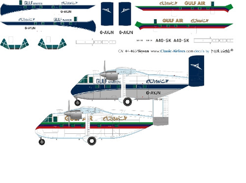 1/144 Scale Decal Gulf Air Skyvans