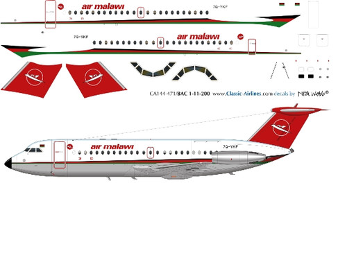 1/144 Scale Decal Air Malawi BAC-111