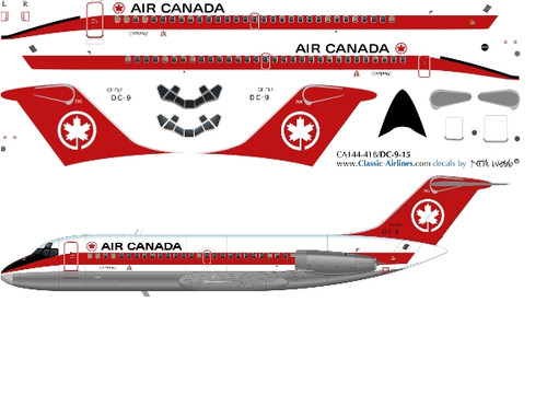 1/144 Scale Decal Air Canada DC9-10