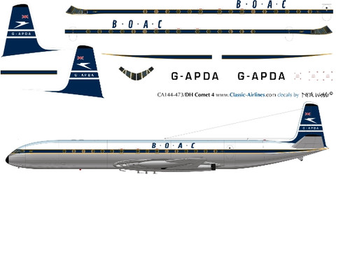 1/144 Scale Decal BOAC Comet 4 Pre Delivery