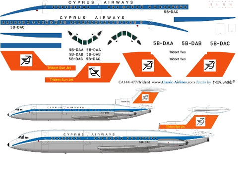 1/144 Scale Decal Cypress Airways Trident 2