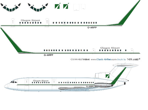 1/144 Scale Decal Glasgow Airport Trident 2