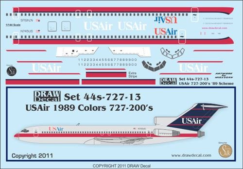 1/144 Scale Decal USAirways 727-200 1989 Livery