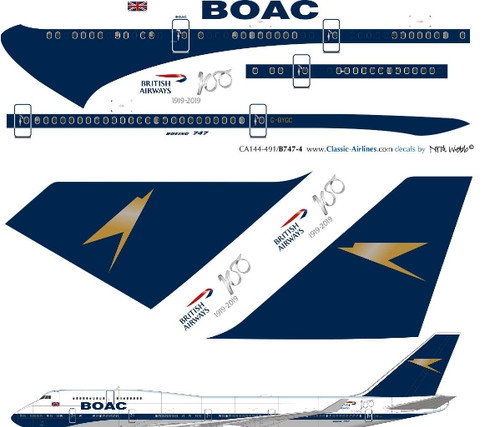 1/144 Scale Decal British Airways 747-400 BOAC Retro